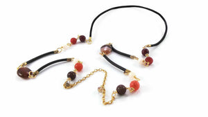 Crystal Cut Leather Necklace Semiprecious Stone Gold Plated