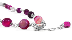 Pink Fusion Necklace sterling silver lobster clasp necklace