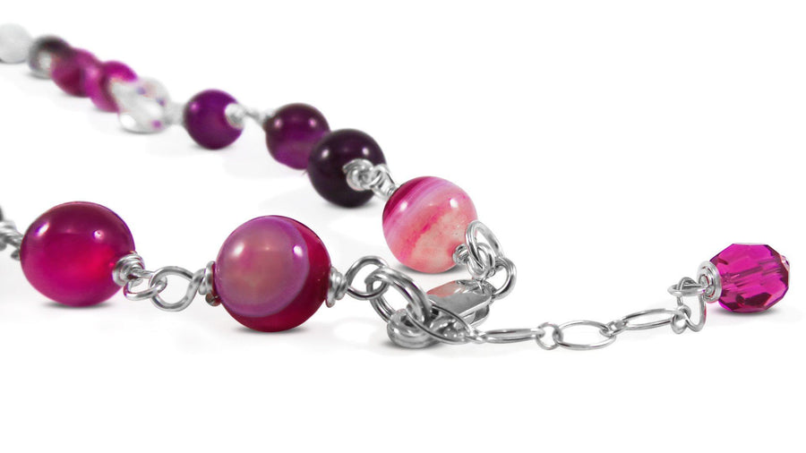 Pink Fusion Necklace Agate Pink beads Necklace