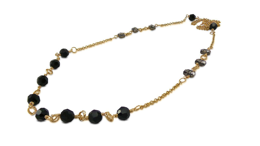 Black Long Crystal Jewelry Necklaces