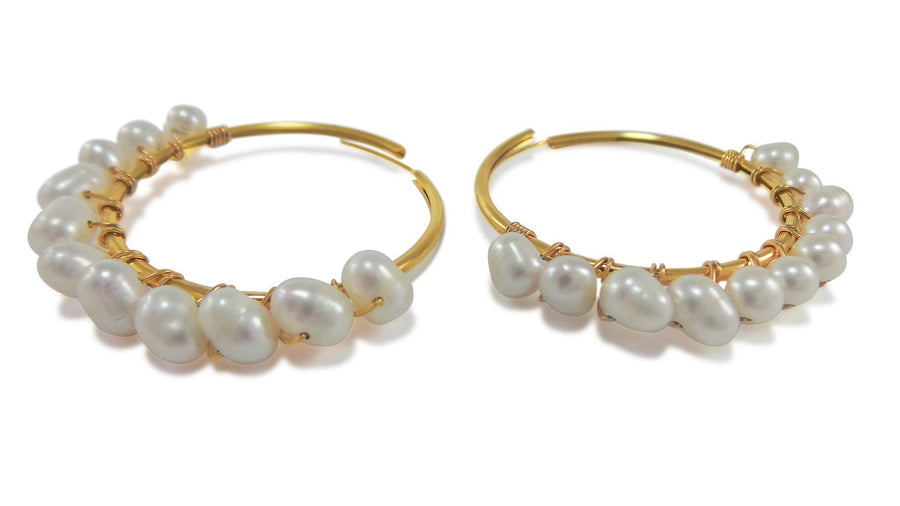Gold Pearl Loops Earrings