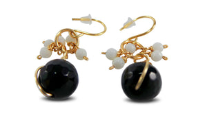 White Black Faceted Agates Gold Hooks