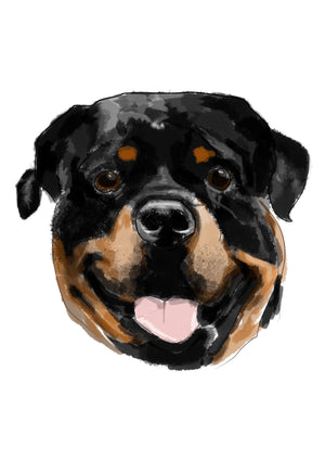 hand painted rotweiller portrait