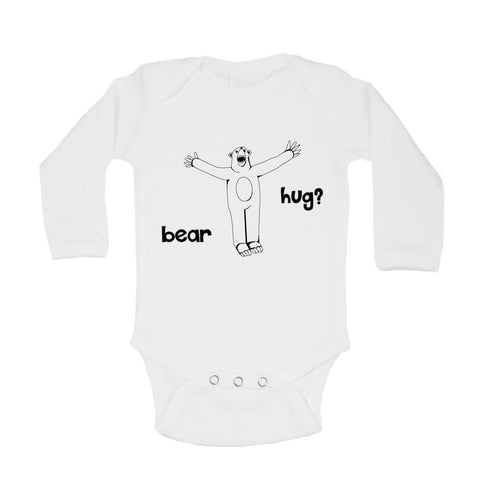 Bear hug baby bodysuit, white - ARTsy clothing