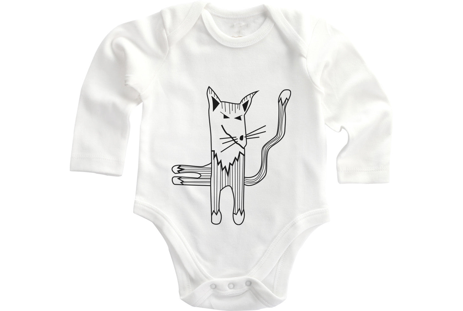 Cat baby grow bodysuit, angry kitty - ARTsy clothing - 1