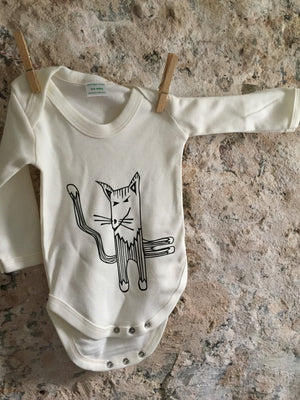 Cat baby grow bodysuit, angry kitty - ARTsy clothing - 2