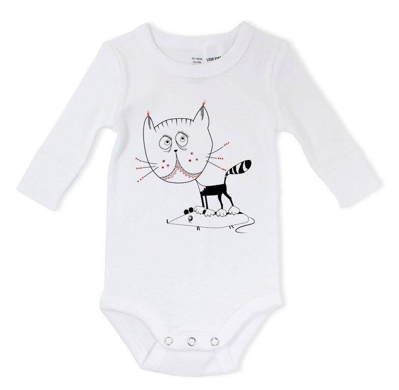 Cat mouse baby bodysuit - ARTsy clothing - 1