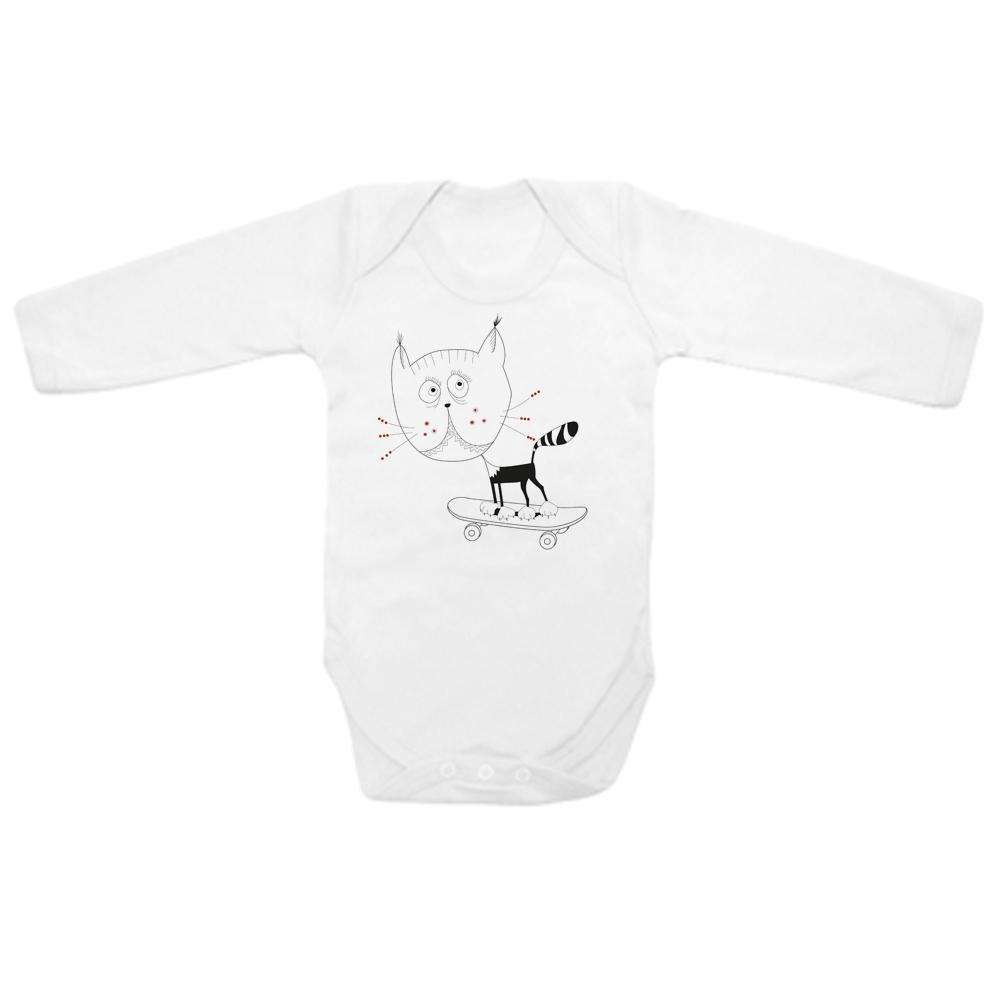 Babygrow - Cat On Skate Baby Bodysuit