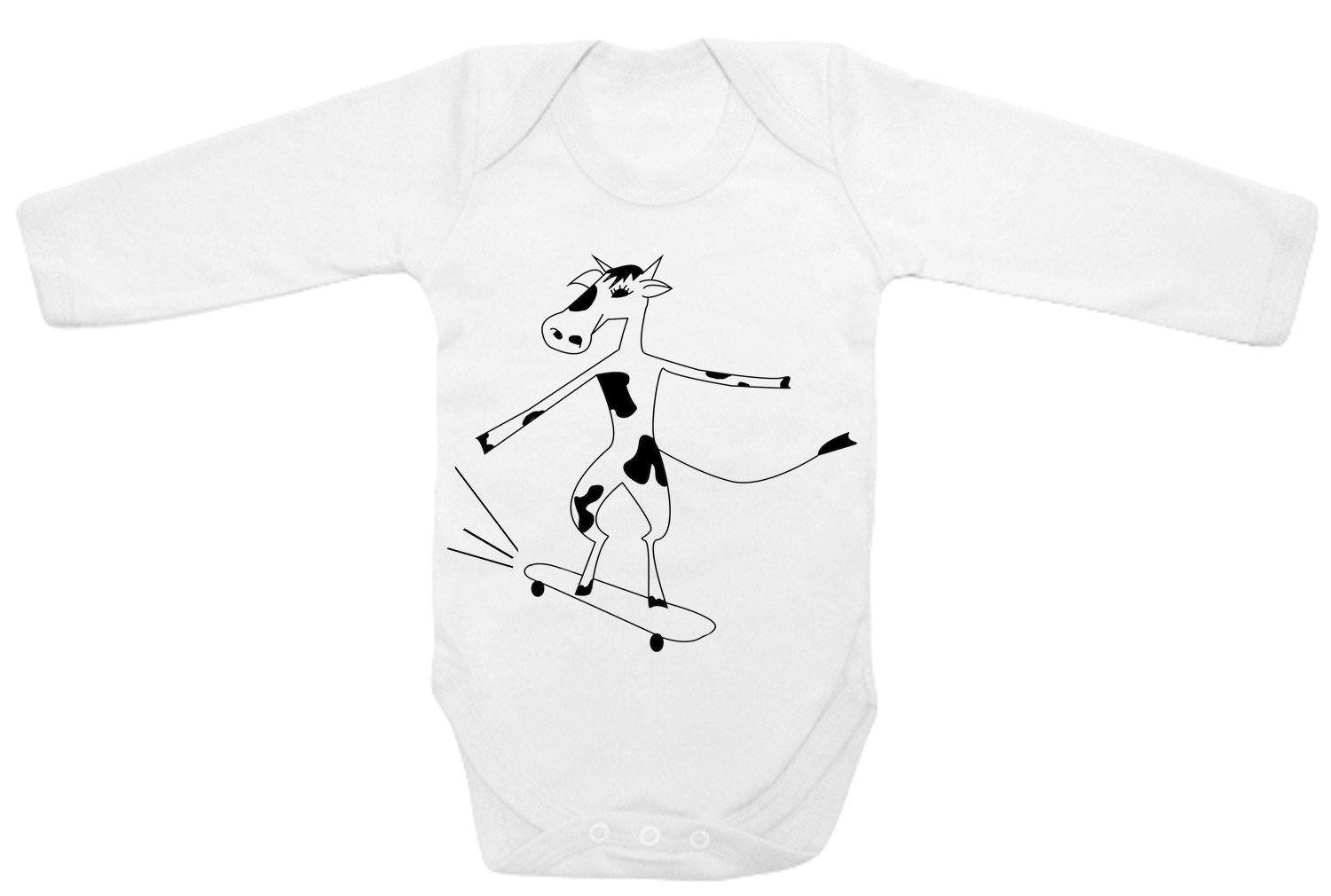 Babygrow - Cow On A Skate Baby Bodysuit
