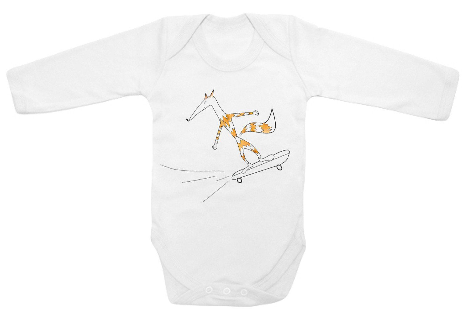Babygrow - Fox On A Skateboard Bodysuit, Hand Painted