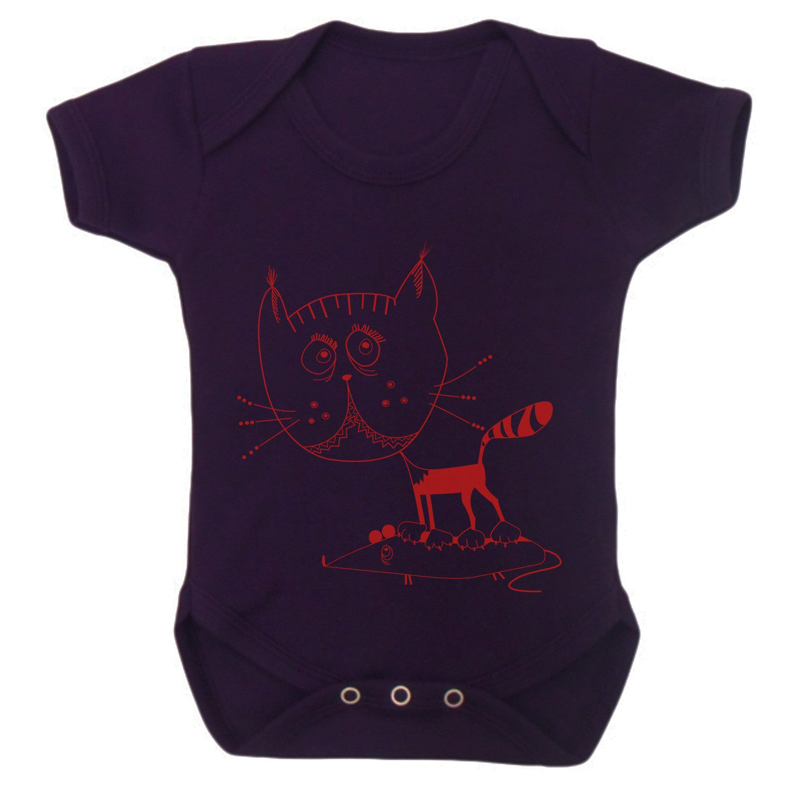 Kitty cat mouse baby grow, short sleeved - ARTsy clothing