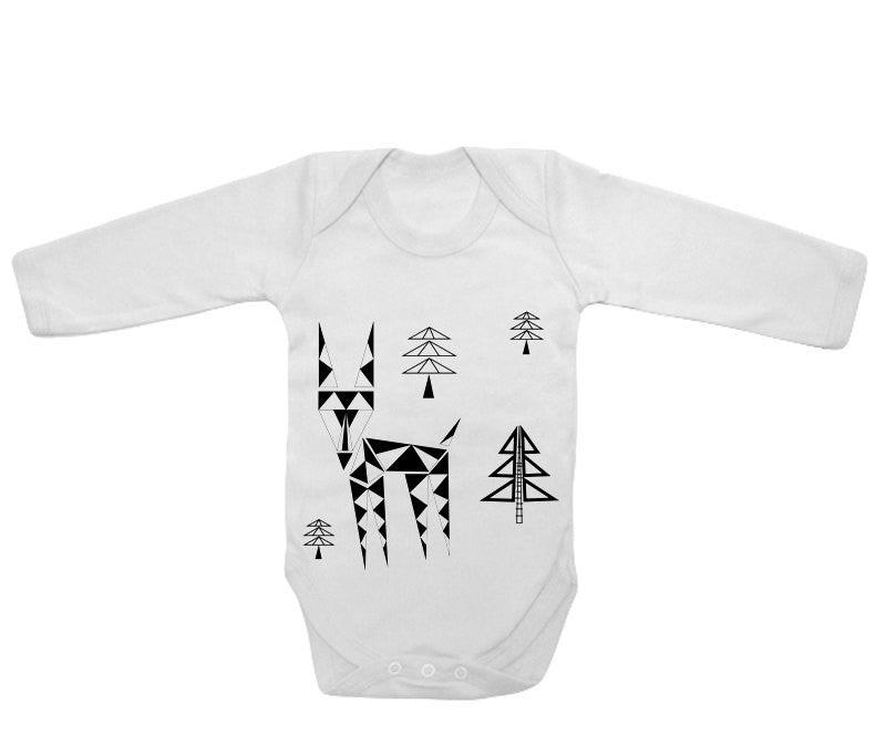 Little geometric deer baby bodysuit baby grow - ARTsy clothing - 1