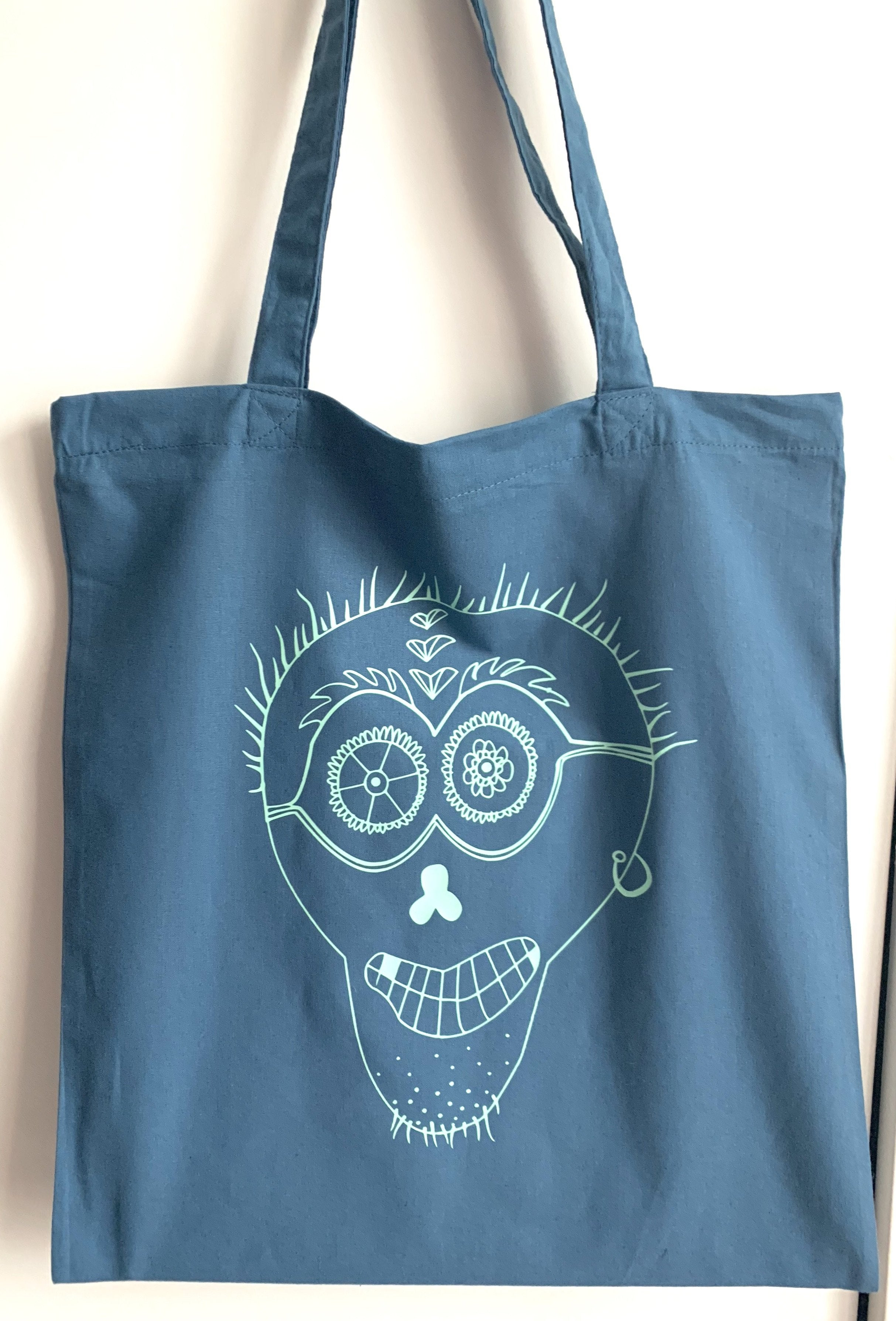 Bags - Punk Skull Tote Bag, Airforce Blue