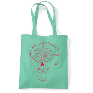 Bags - Punk Skull Tote Bag, Mint