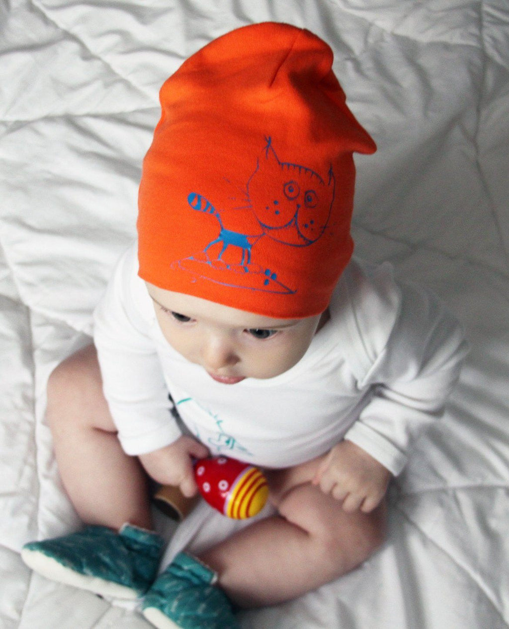 Beanies - Kitty Mouse Beanie Hat, Orange Blue