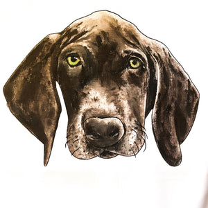 hand painted brown dog portrait