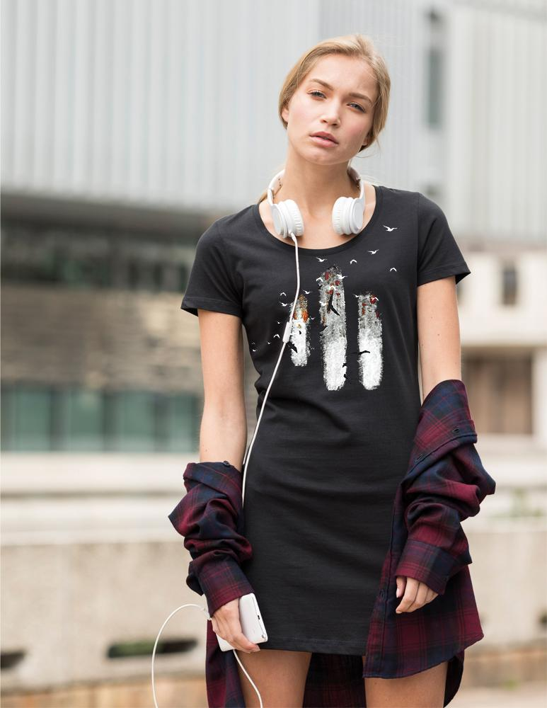 Dress - Abstract Birds T-shirt Dress, Hand Painted