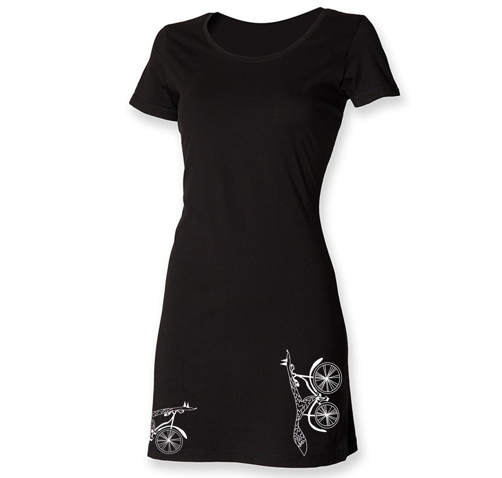 Dress - Fox On A Bike T-shirt Dress