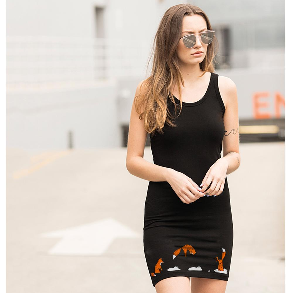 Dress - Jumping Fox Vest Dress, Black