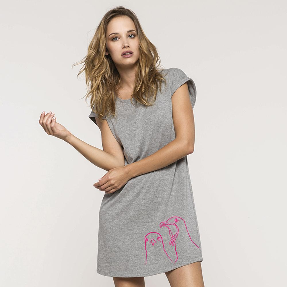 Dress - Seagulls Flowy T-shirt Dress, Grey