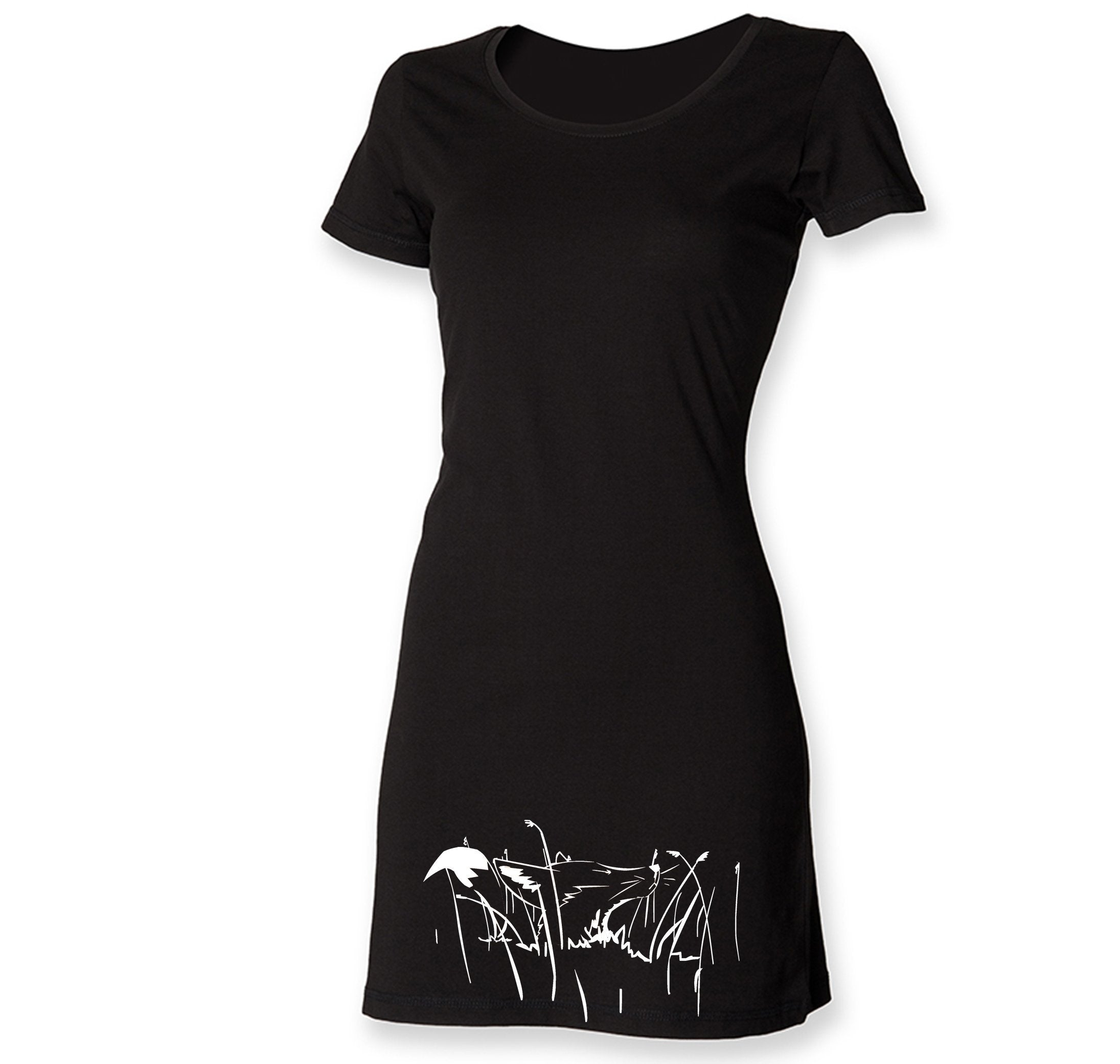 Dress - White Fox In The Grass T Shirt Dress