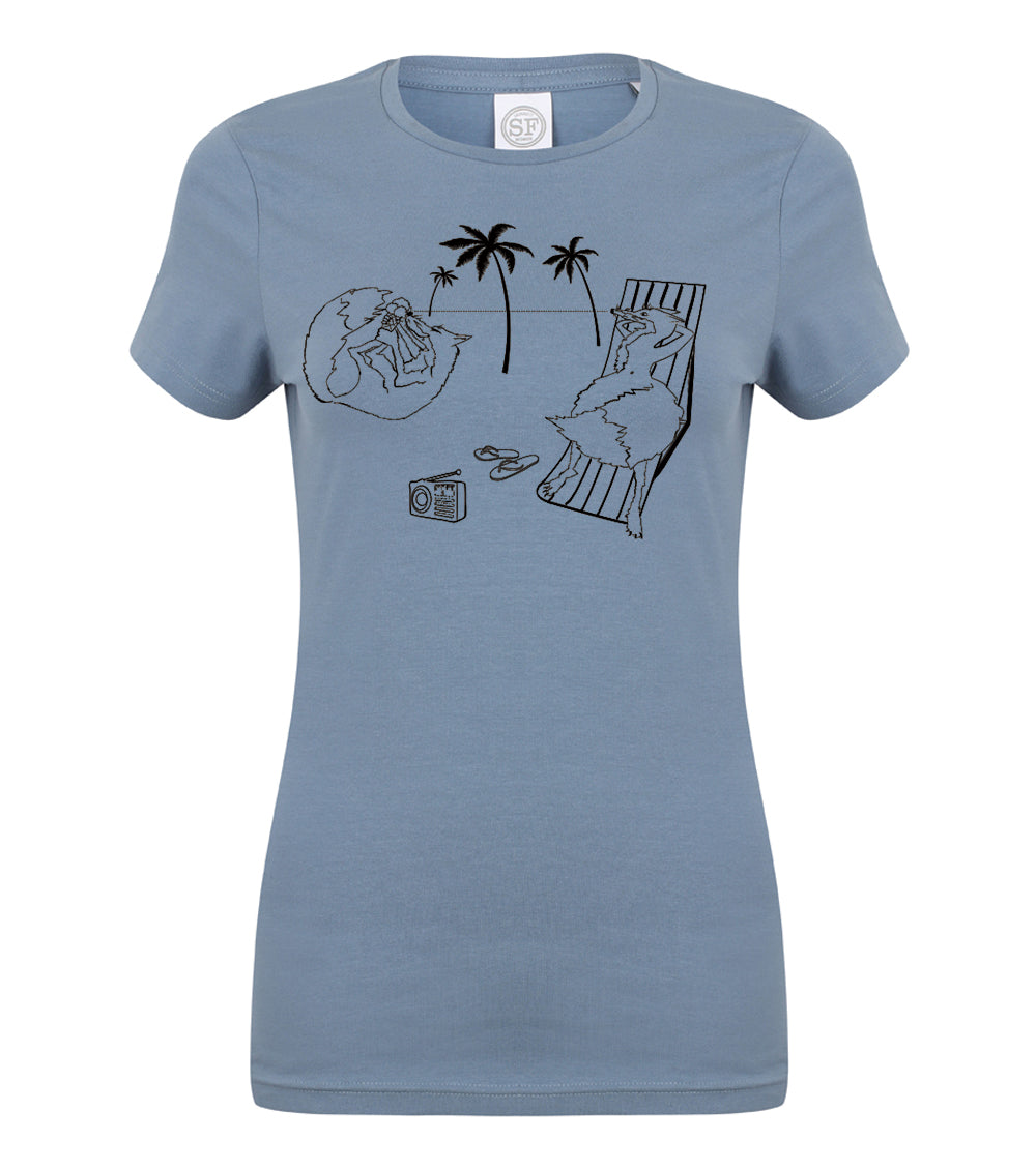 Foxes on the beach women t-shirt