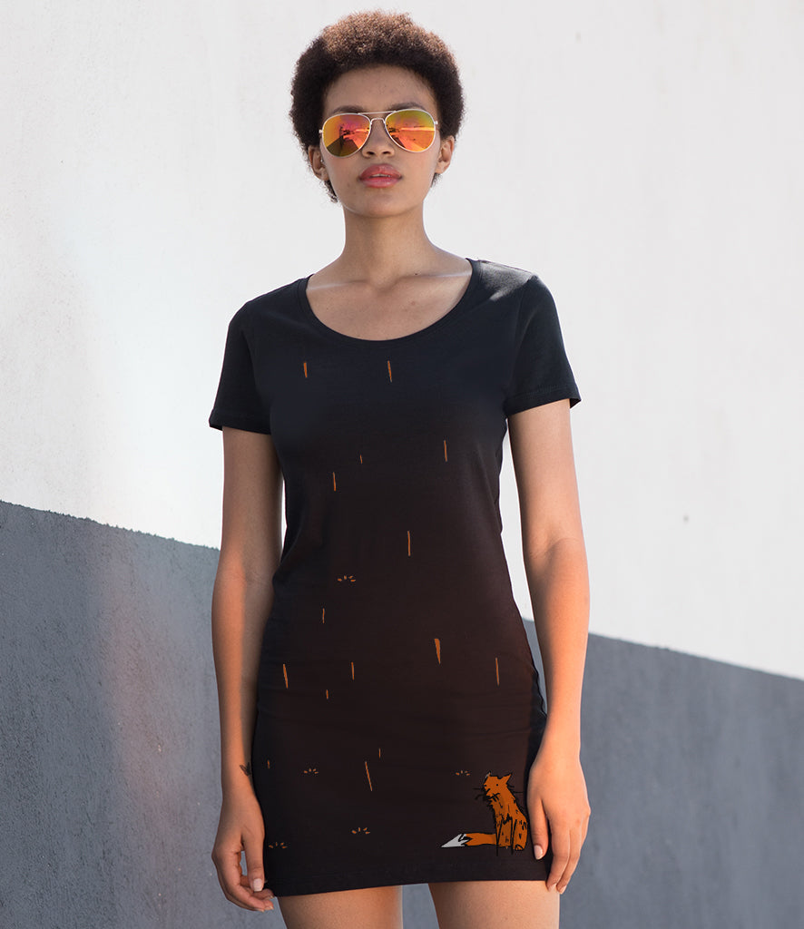 Fox in the rain t-shirt dress
