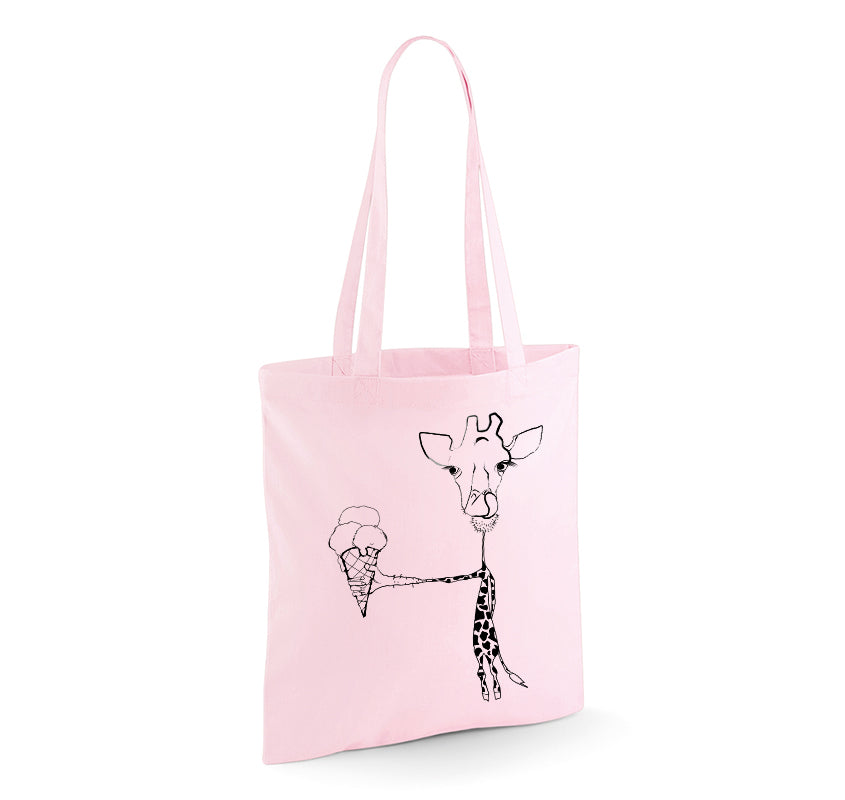 Giraffe with ice cream tote bag