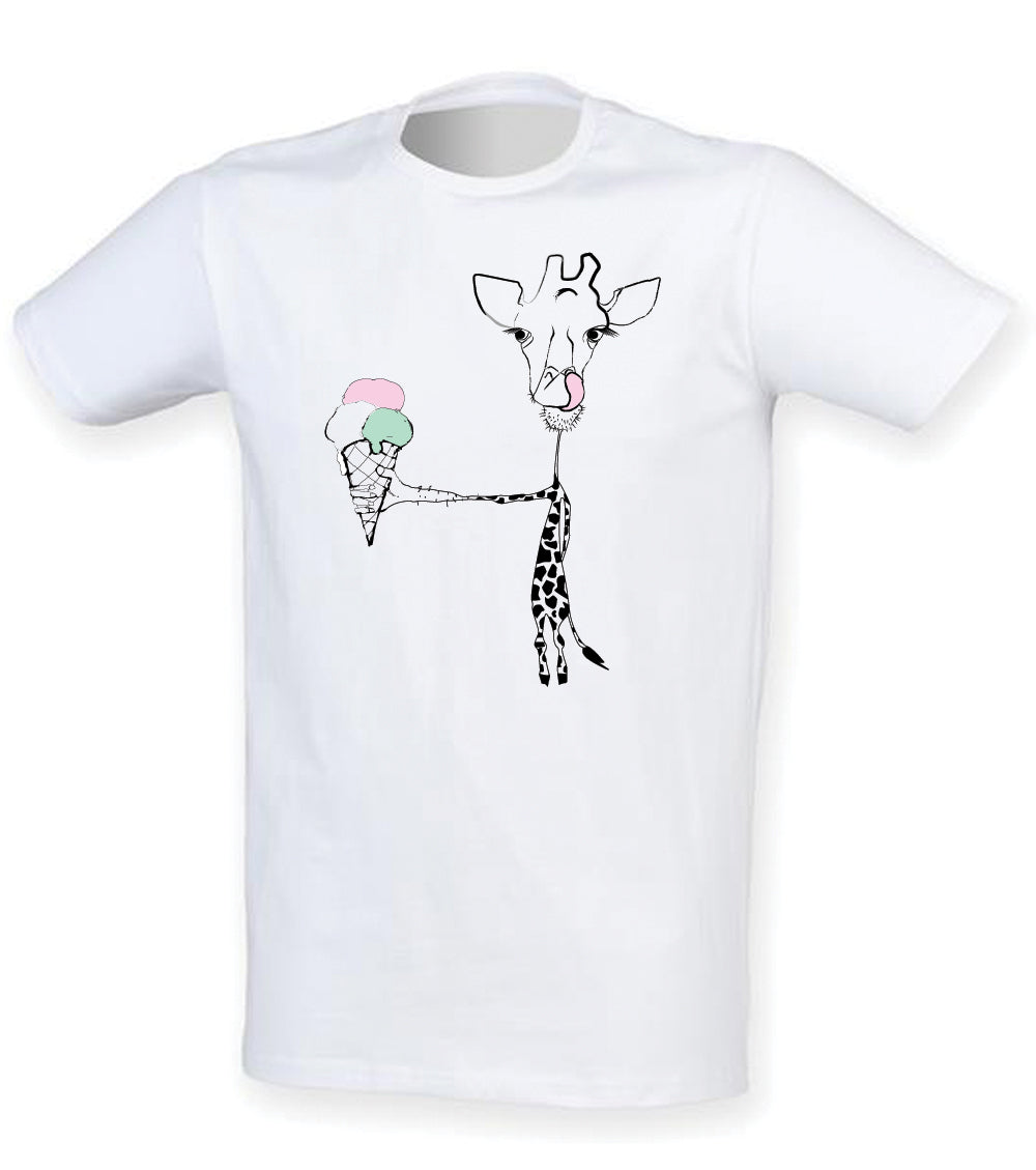 Giraffe with ice cream men t-shirt