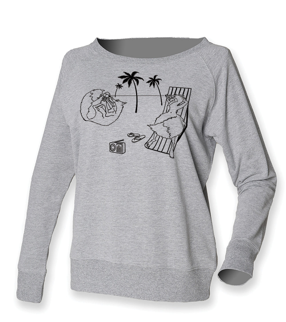 Foxes on the beach jumper, grey