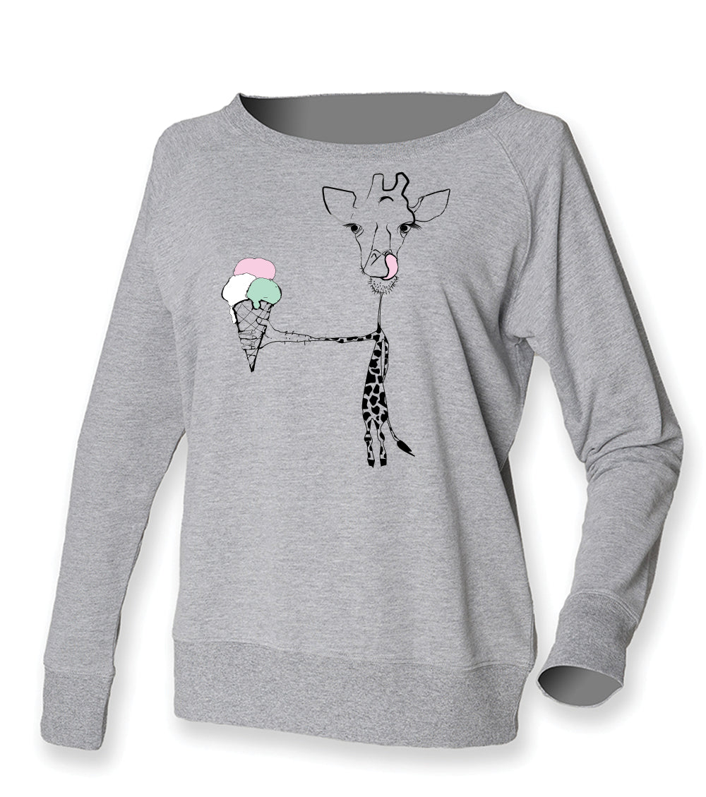 Giraffe with ice cream jumper, grey