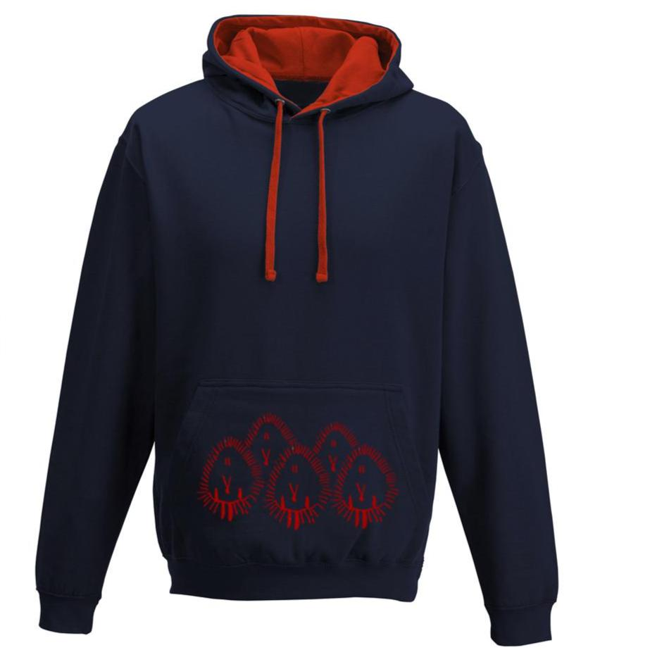 Hedgehogs unisex hoodie, French Navy/Fire red