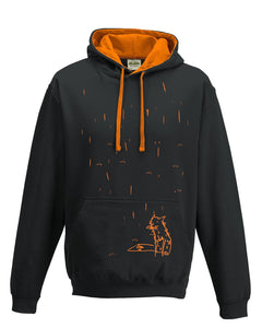 Hoodie - Fox In The Rain Hoodie, Black/orange