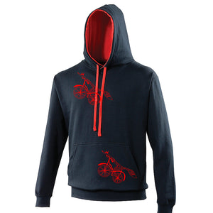 Fox on a bike Hoodie with pocket, French Navy/Fire red - ARTsy clothing - 4