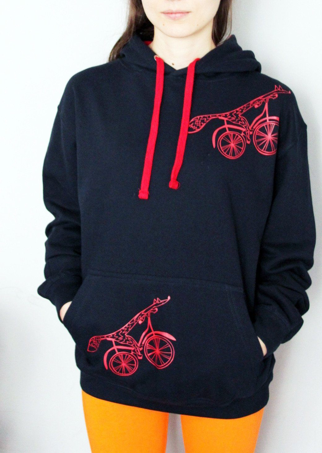 Hoodie - Fox On A Bike Hoodie With Pocket, French Navy/Fire Red