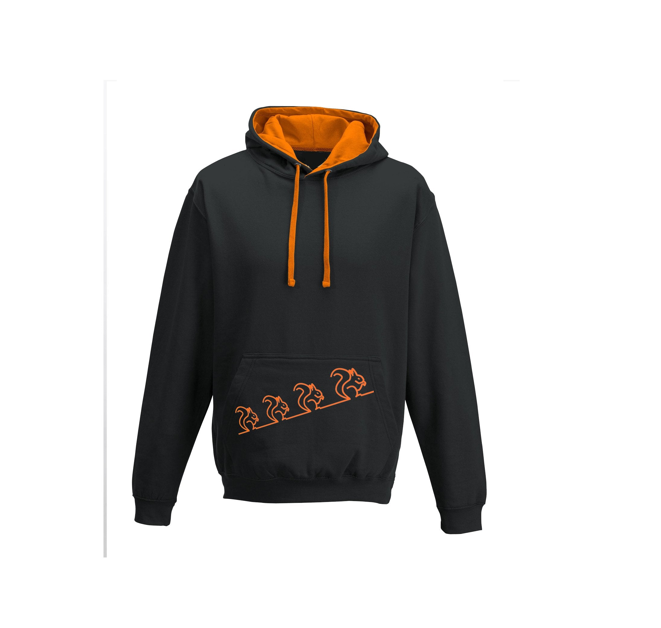 Hoodie - Squirrels Hoodie, Black/orange