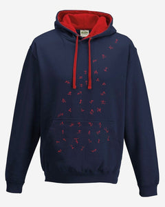 Hoodie - Stick Figures Hoodie, French Navy/Fire Red