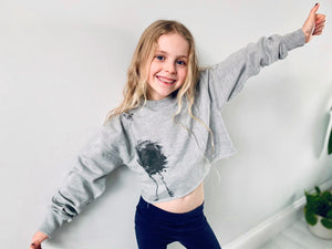 Kids cropped sweatshirt, ostrich