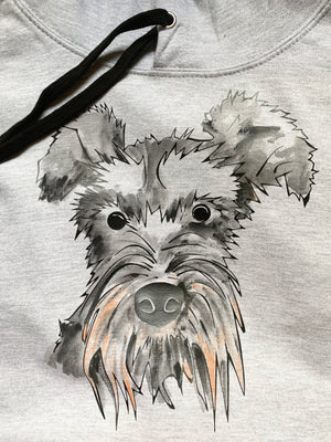 Schnauzer the dog hoodie, grey black