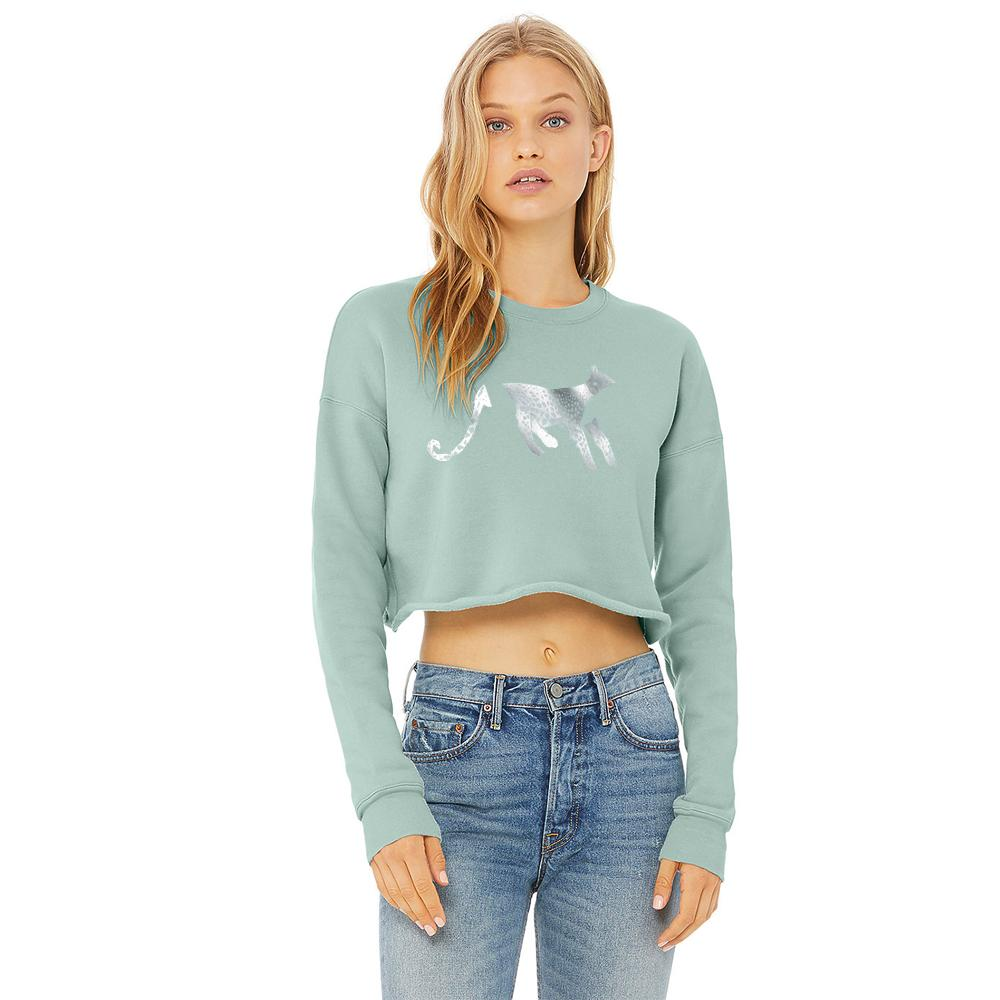 Jumper - Cropped Leopard Jumper, Dusty Blue