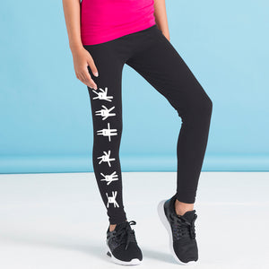 Kids black leggings, bunnies
