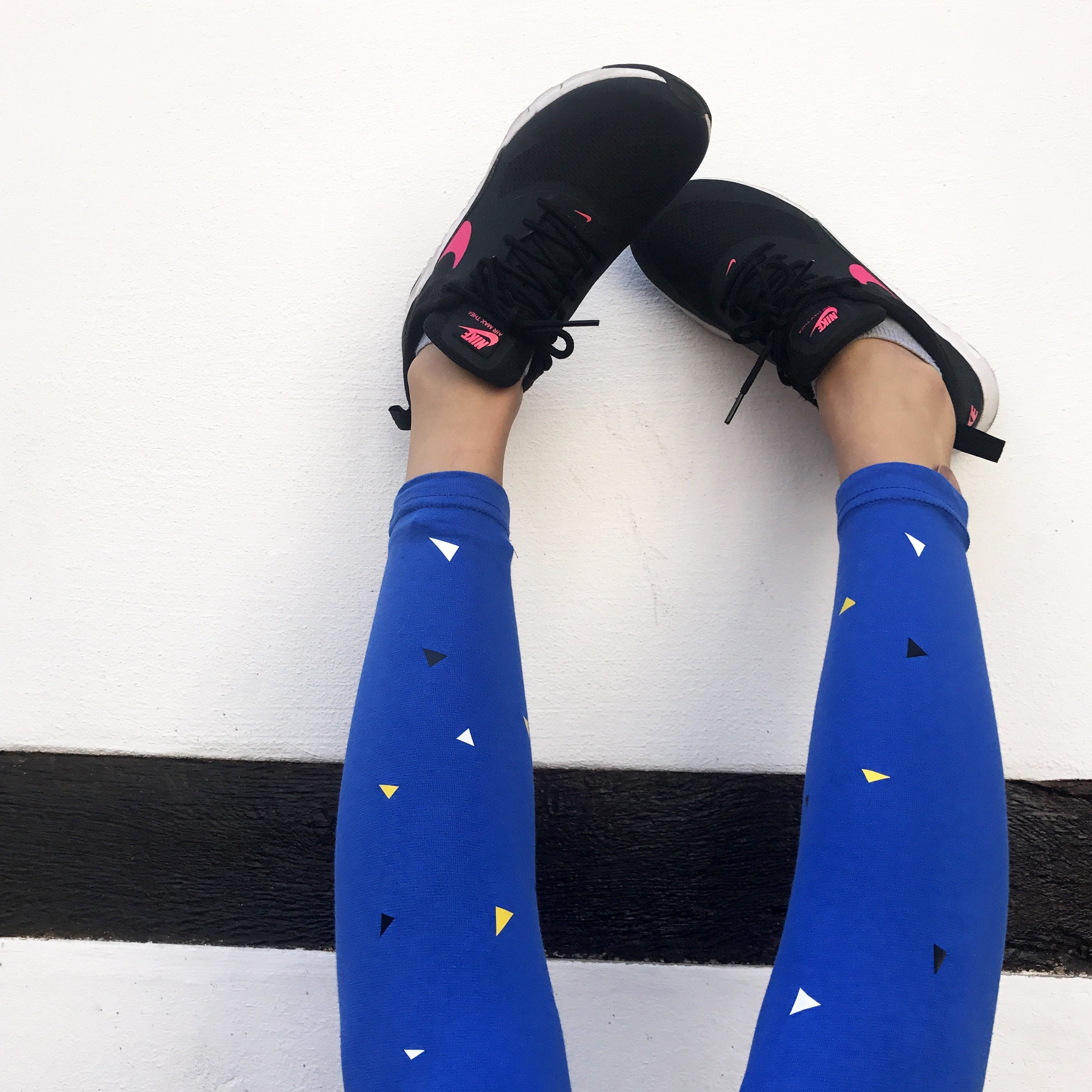 Leggings - Triangles Leggings, Orange Blue