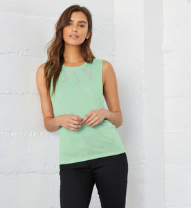 Mint Flowy Muscle Top, Flamingo