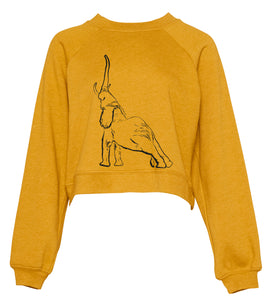 Cropped elephant jumper, mustard