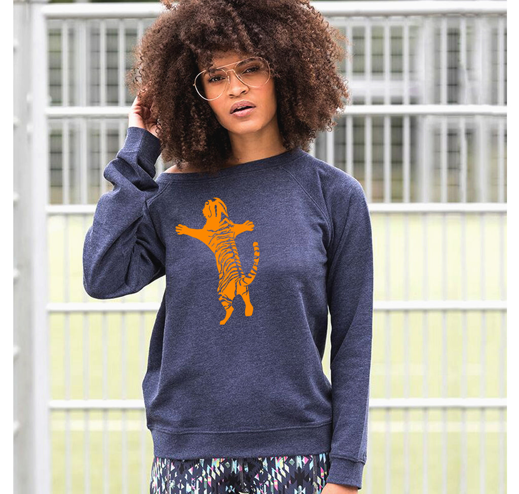 Tiger jumper, navy marl