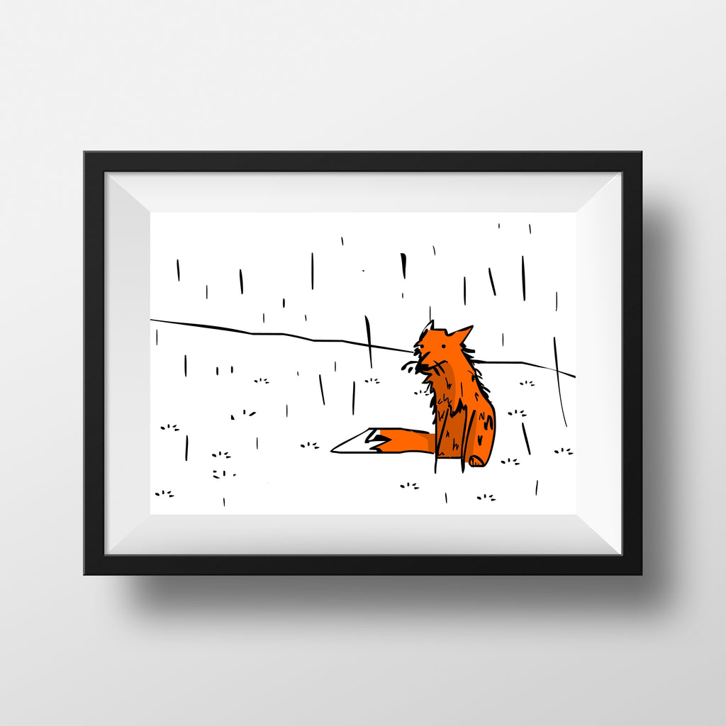 Print - Fox In The Rain Print