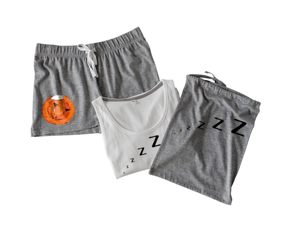 Pyjama Set - Women Shorts Pyjamas Set, Sleeping Fox