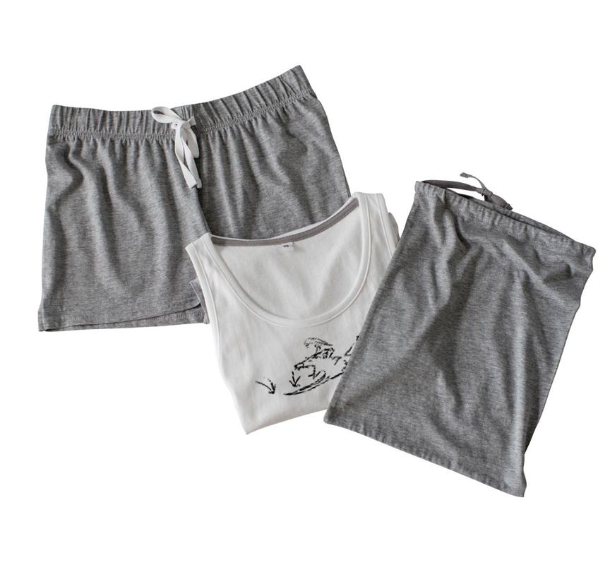 Pyjama Set - Women Shorts Pyjamas Set, Yawning Fox