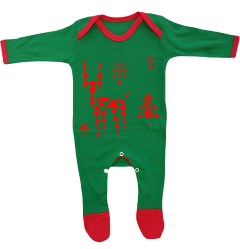 Geometric deer baby pyjamas, green and red - ARTsy clothing