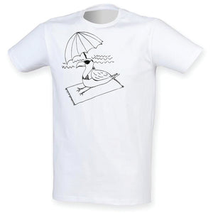 Seagull in Bikini men t-shirt, white